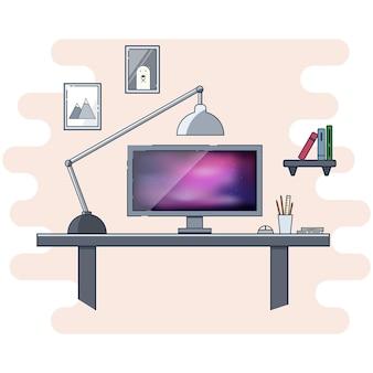 現代のホームオフィスのコンセプトのためのフラットアイコンデザイン