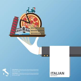 イタリアのランドマークのフラットアイコンデザイン。