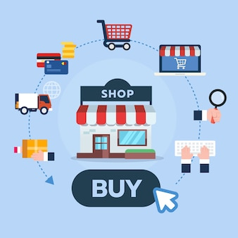 Flat icons design set for online shopping steps infographic