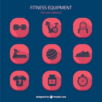Flat icons fitness equipment