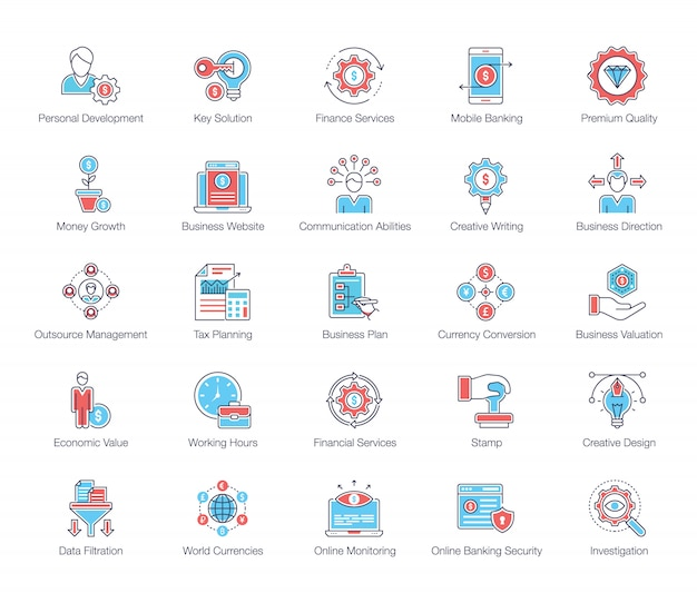 Финансовые услуги flat icons pack