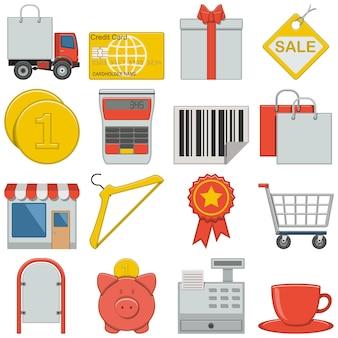 Плоские иконки розничной торговли, изолированные на белом фоне
