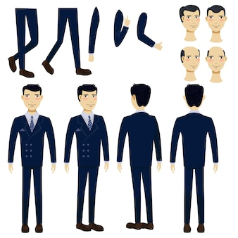 Flat icons set of asian business man