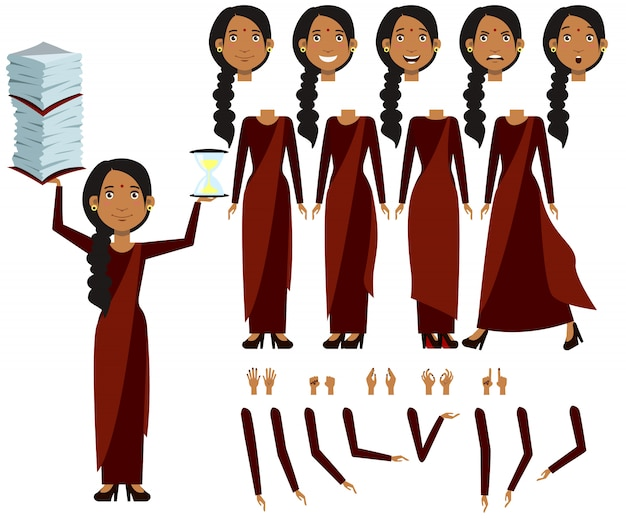 Flat icons set of indian woman views, poses and emotions