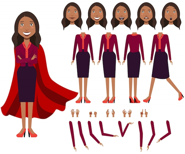 Flat icons set of latin business woman views, poses and emotions