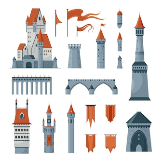 Set di icone piane di bandiere medievali delle torri del castello isolate sull'illustrazione bianca del fondo Vettore gratuito