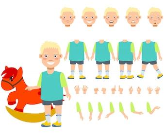 Flat icons set of boy with rocking horse toy