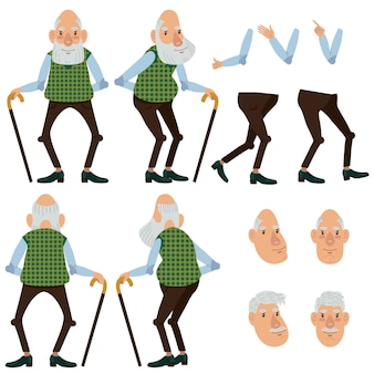 Flat icons set of old man with stick