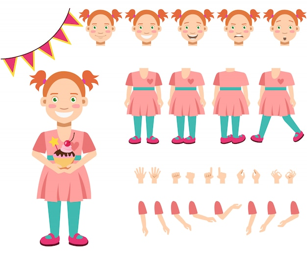 Flat icons set of smiling girl with cupcake