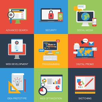 Flat icons set web app development window interface