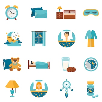 Flat icons sleep time