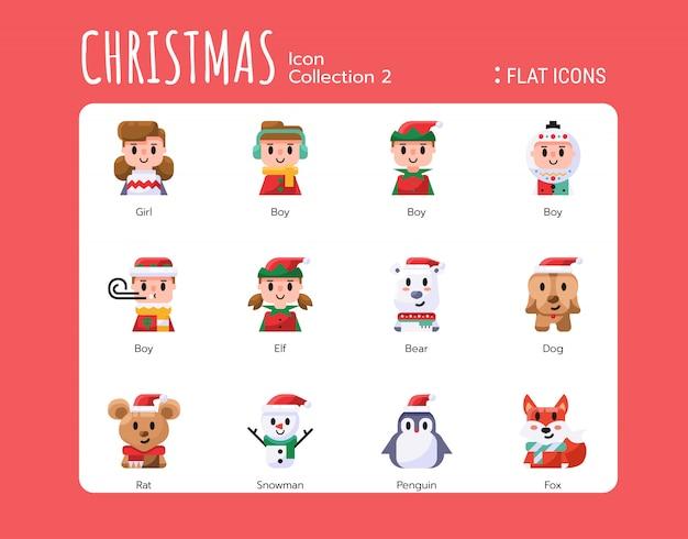 Flat icons style. christmas avatar