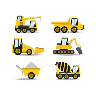 Flat icons under construction truck