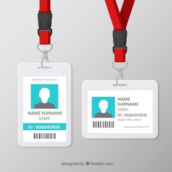 Карточка с плоской идентификационной картой с застежкой и талрепом