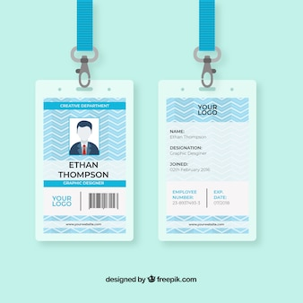 Flat id card template with clasp and lanyard