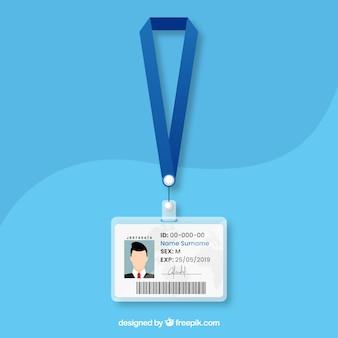 Modello di carta d'identità piatta con chiusura e cordino