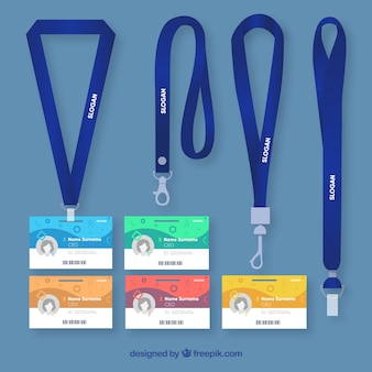 Flat id card with clasps and lanyards collection