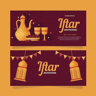 Set di banner iftar piatto