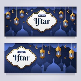 Flat iftar banner set