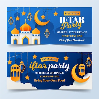 Flat iftar banners set