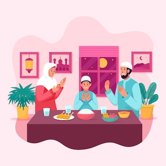 Flat iftar illustration with people