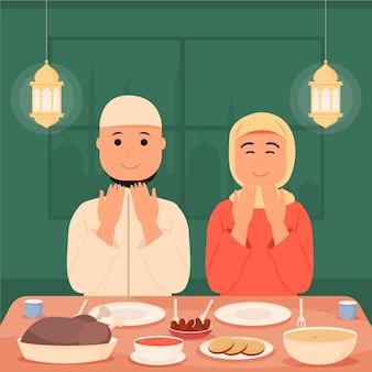 Illustrazione iftar piatto con persone