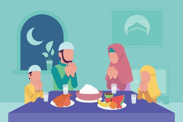 Flat iftar illustration