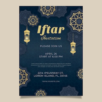 Flat iftar invitation template