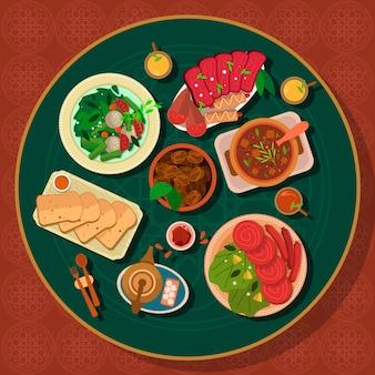 フラットイフタール食事イラスト