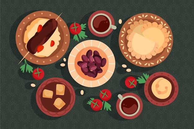 Плоская иллюстрация еды ифтара