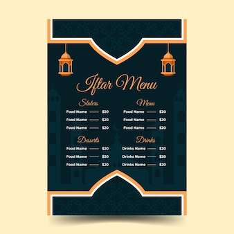 Flat iftar menu template