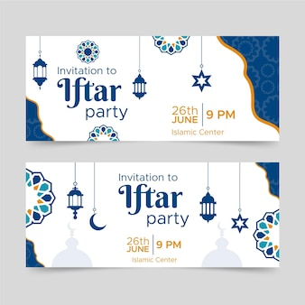 Flat iftar party banners design