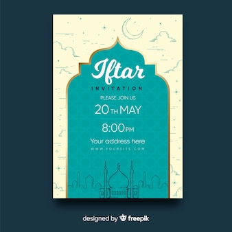 Flat iftar party invitation building silhouettes