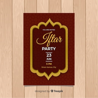 Flat iftar party invitation ornamental frame