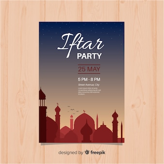 Flat iftar party invitation sunset