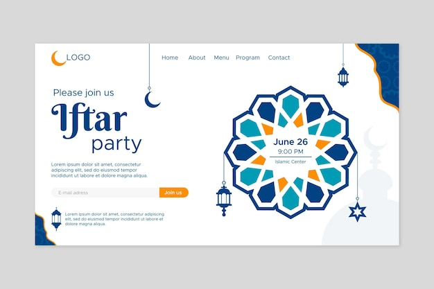 Flat iftar party landing page