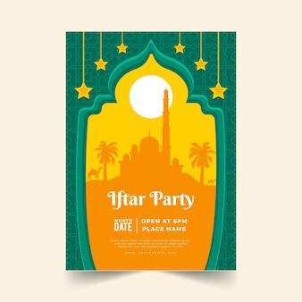 Modello di poster iftar piatto