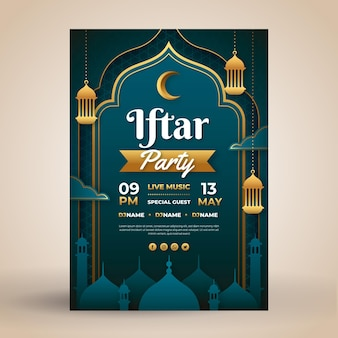 Flat iftar poster template