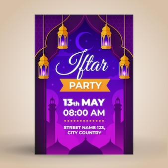 Flat iftar poster template