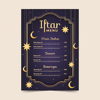 Flat iftar vertical menu template