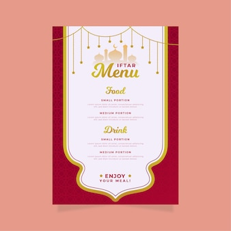 Flat iftar  vertical menu template