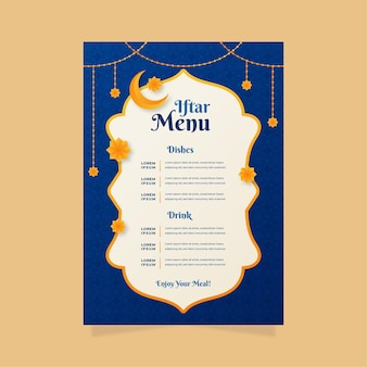 Плоский шаблон вертикального меню ифтара