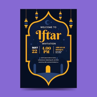 Плоский ифтар вертикальный шаблон плаката