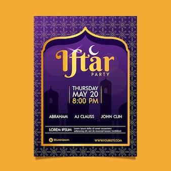 Modello di poster verticale iftar piatto Vettore gratuito