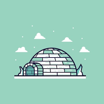 Flat igloo cartoon