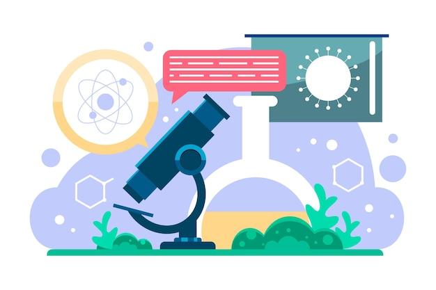 Concetto di biotecnologia illustrato piatto
