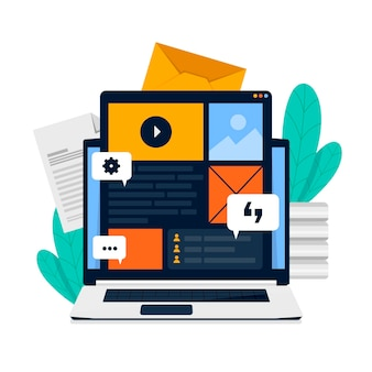 Flat illustrated cms concept