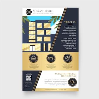 Плоский иллюстрированный информационный флаер об отеле