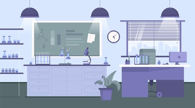 Flat illustrated laboratory room