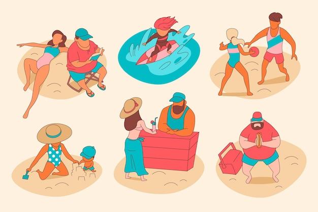 Raccolta di scene estive illustrate piatte